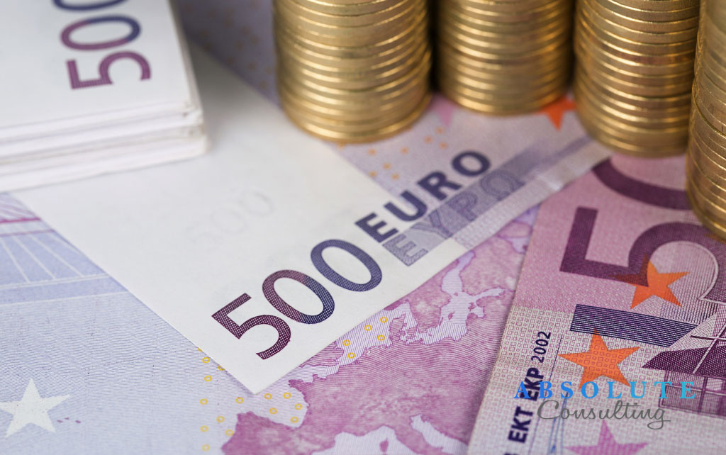 Savings, close up of european currency